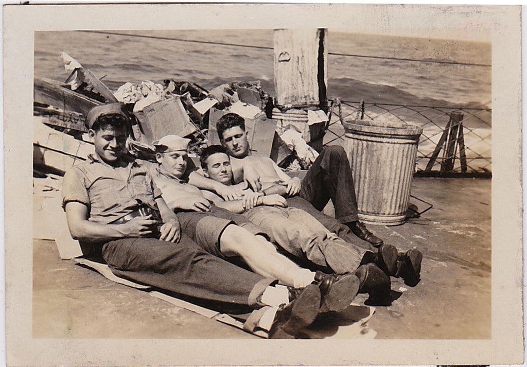 affectionate sailors on destroyer vintage snapshot