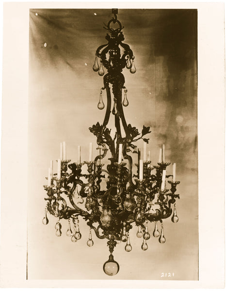 Altman Galleries crystal chandelier vintage sepia photo