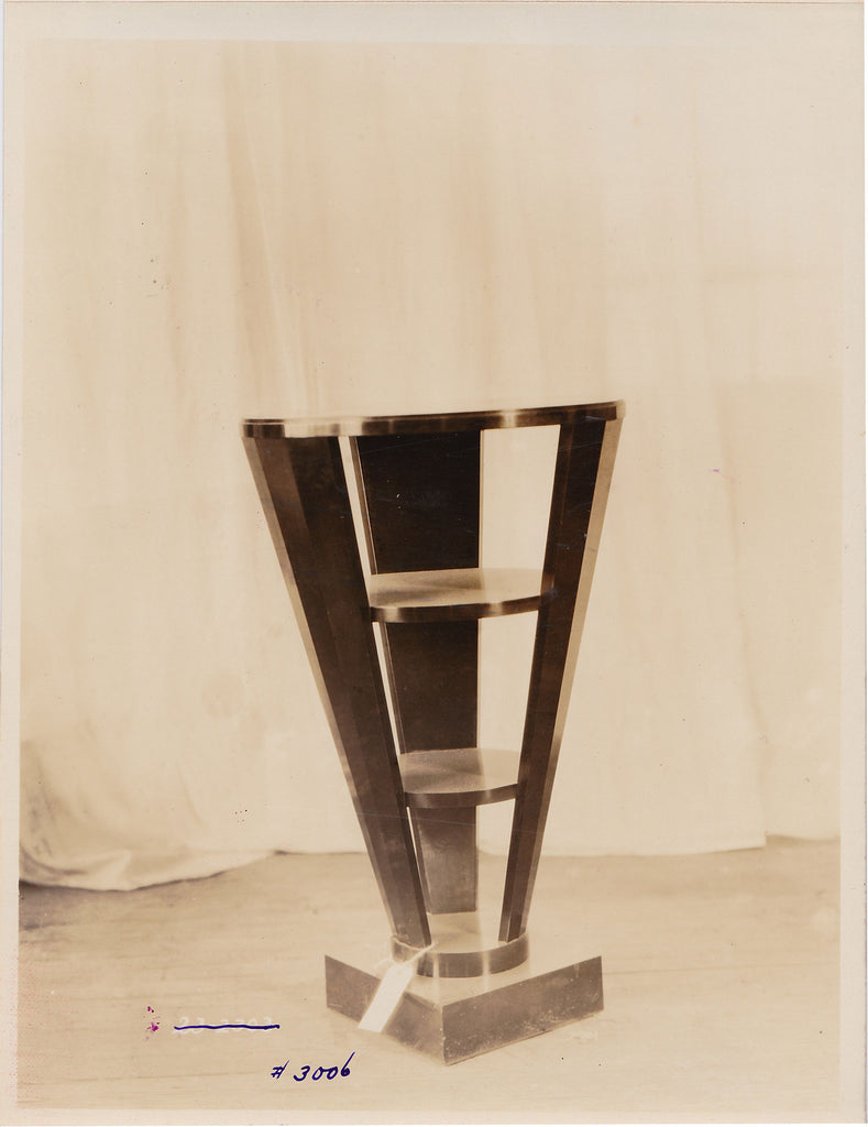 Three-tiered Deco side table, vintage sepia photo, interior decoration, furniture