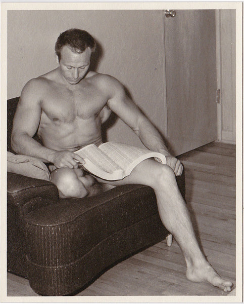 vintage photo Western Photo Guild Male Nude Reading Phonebook