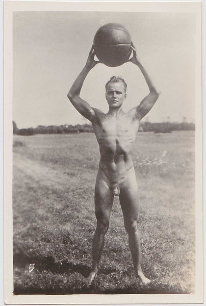 Vintage Physique Photo: Male Nude with Medicine Ball