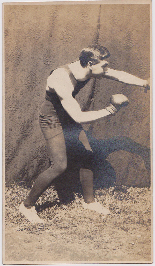 Vintage Physique Photo: Young Boxer Feints