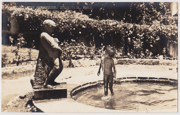 Boy Drinking from Fountain: Real Photo Postcard