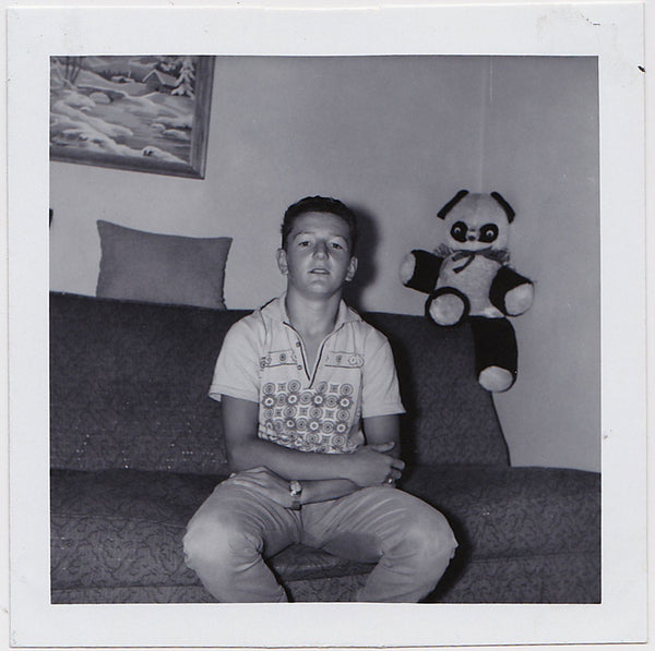 Boy with Stuffed Panda vintage snapshot