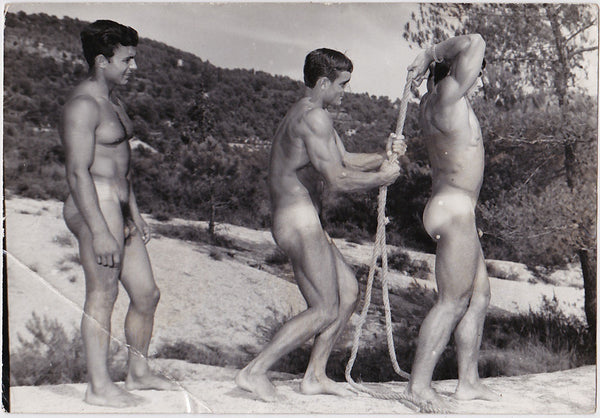 Vintage photo of three beefy bodybuilders in a mountain landscape, by Jean Ferrero, Nice, France.