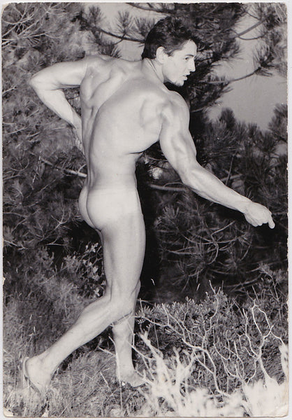 Vintage photo of an unidentified male nude with a broad muscular back, by Jean Ferrero, Nice, France.