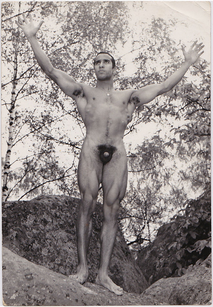 Vintage photo of Mr. France 1963 Ab Moulay, by Jean Ferrero, Nice, France.