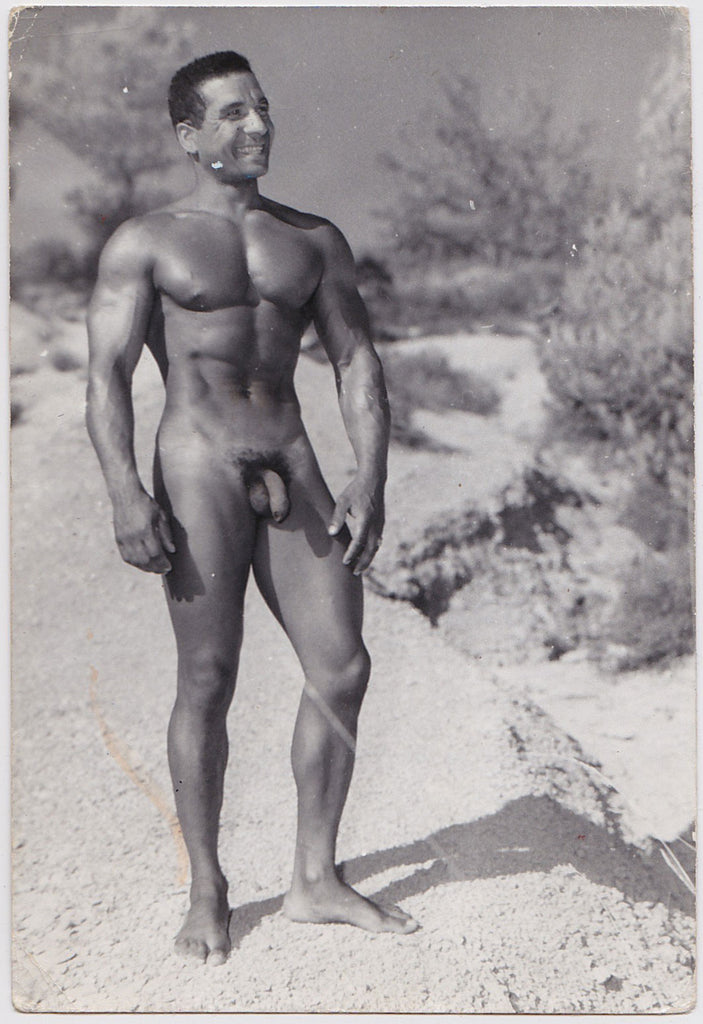 Vintage photo of muscular Christian Dancale, Mr. Europe 1960, by Jean Ferrero, Nice, France.