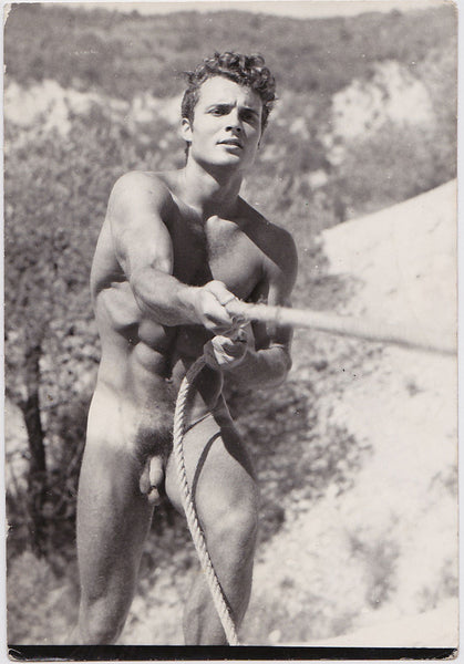 Vintage photo of a stunningly beautiful bodybuilder named Klaus, by Jean Ferrero, Nice, France