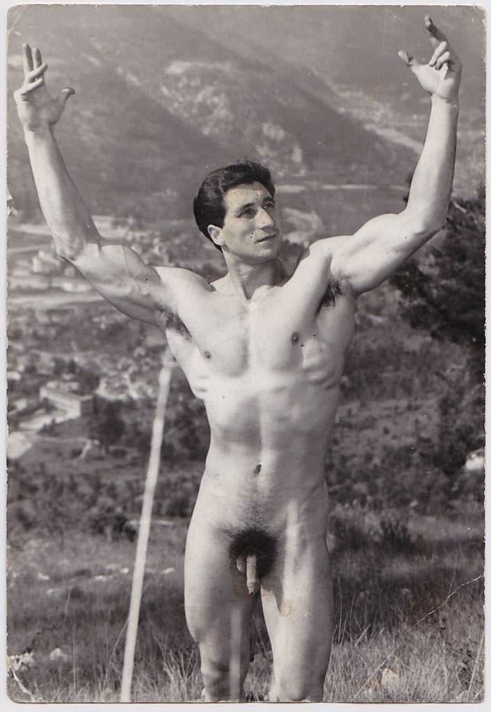 Vintage photo of Mr. Europe 1961, Rod Ferrero with arms raised, by Jean Ferrero, Nice, France.