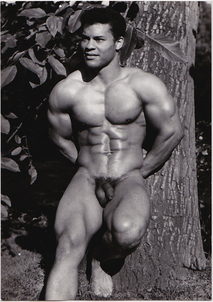 Jean Ferrero Male Nude: Rick Wayne Leaning Against Tree vintage physique photo