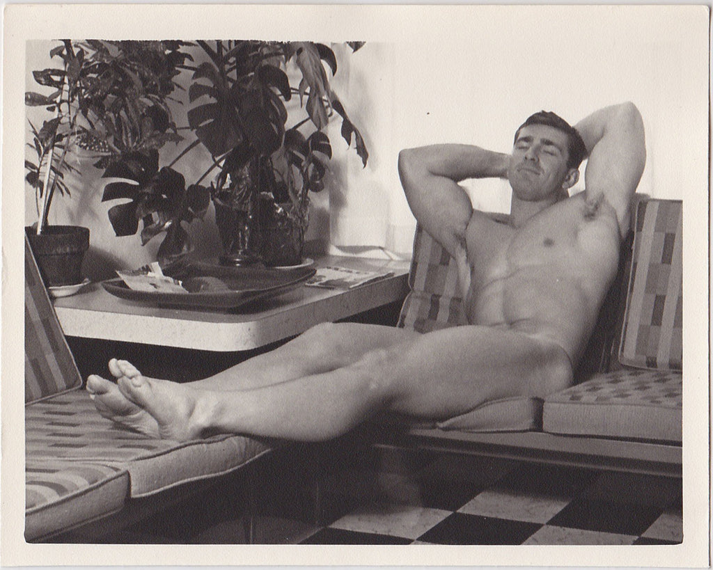Kris Studio Male Nude: Bob Kolinsky Reclining vintage physique photo