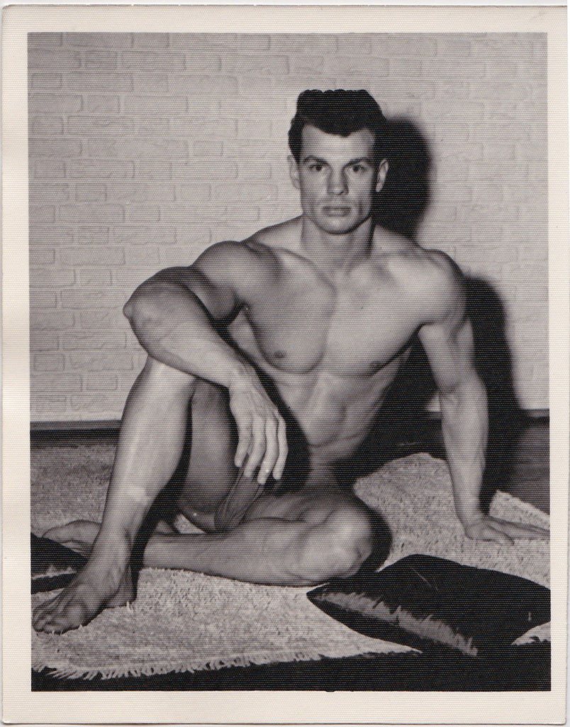 Kris Studio Male Nude: George O'Mara Sitting on Rug vintage physique photo