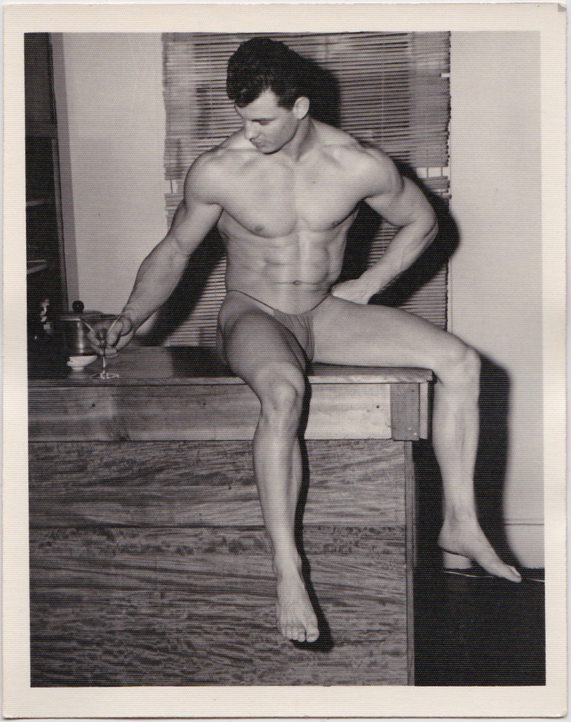 Kris Studio Male Nude: George O'Mara Lifts a Martini Glass vintage photo