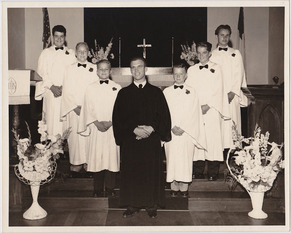 Choir Boys with Priest vintage studio portrait photo