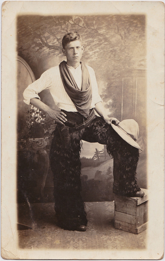 Cowboy with Large Kerchief: Real Photo Postcard