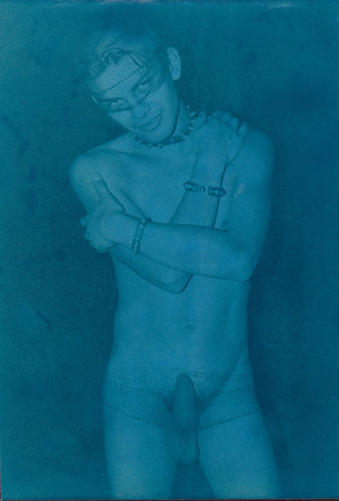 Edward McAndrews Cyanotype Male Nude with Mask vintage photo