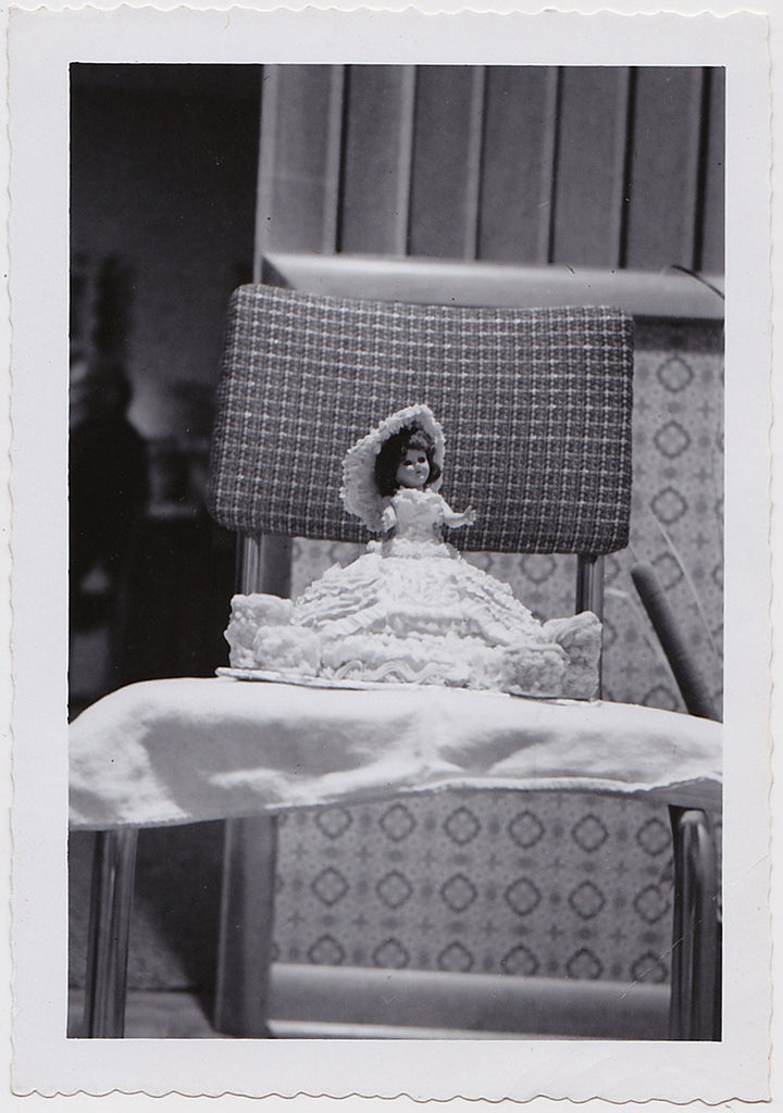 Doll on Chair vintage photo snapshot