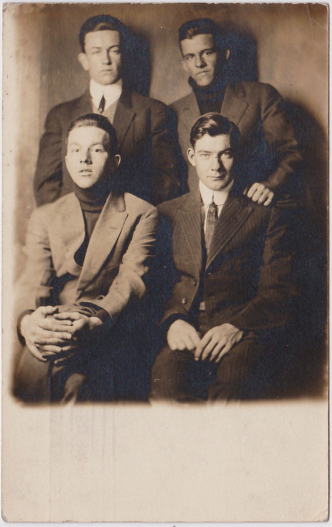 Portrait of Four Handsome Men: Real Photo Postcard