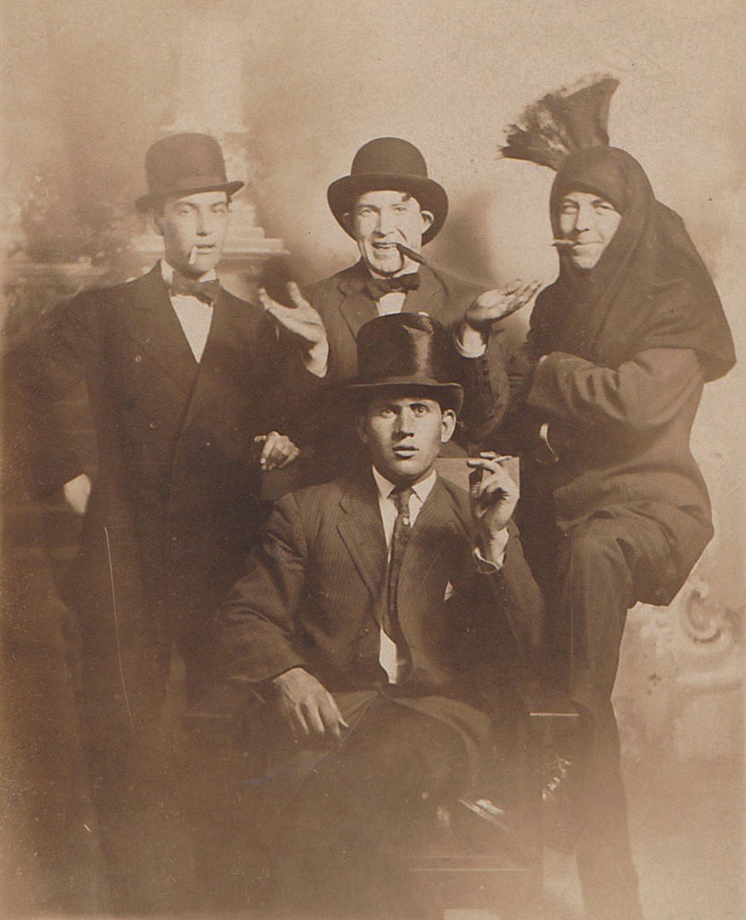 Silly Men Smoking: Real Photo Postcard