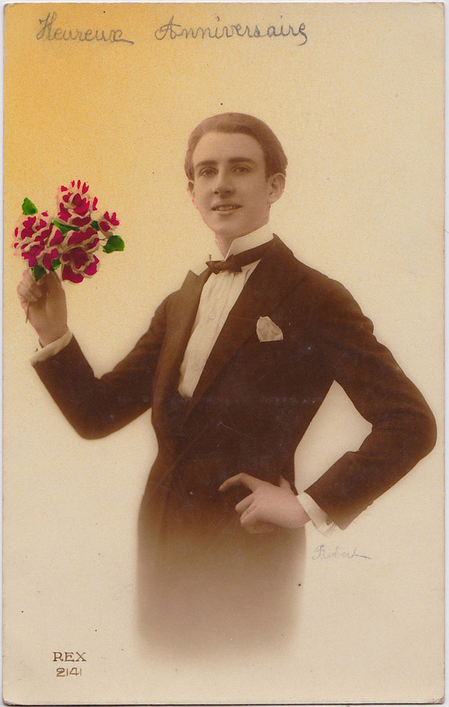 Vintage French Postcard: Happy Birthday from Robert