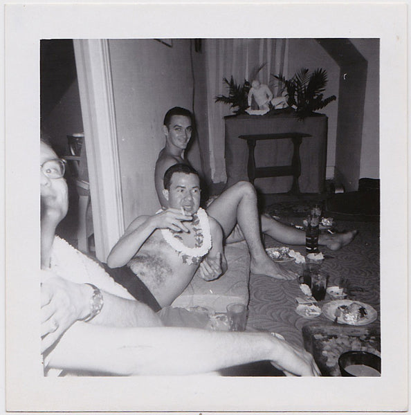 vintage gay snapshot 3 guys at party