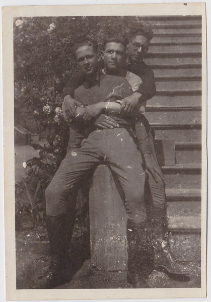 3 Young Guys Group Hug Vintage Snapshot