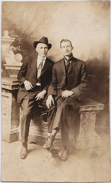 Affectionate Men, Hand on Leg: Real Photo Postcard