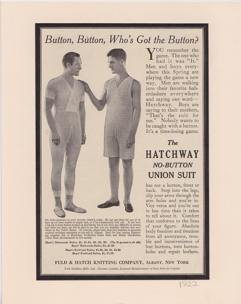 Hatchway Union Suit Vintage Ad