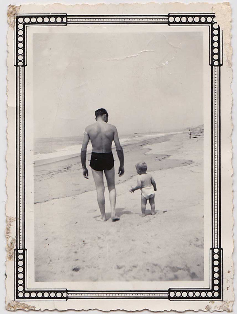 Hot Dad and Son on Beach: Vintage Photo