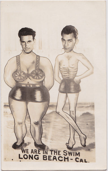 Two Handsome Men In the Swim: Real Photo Postcard