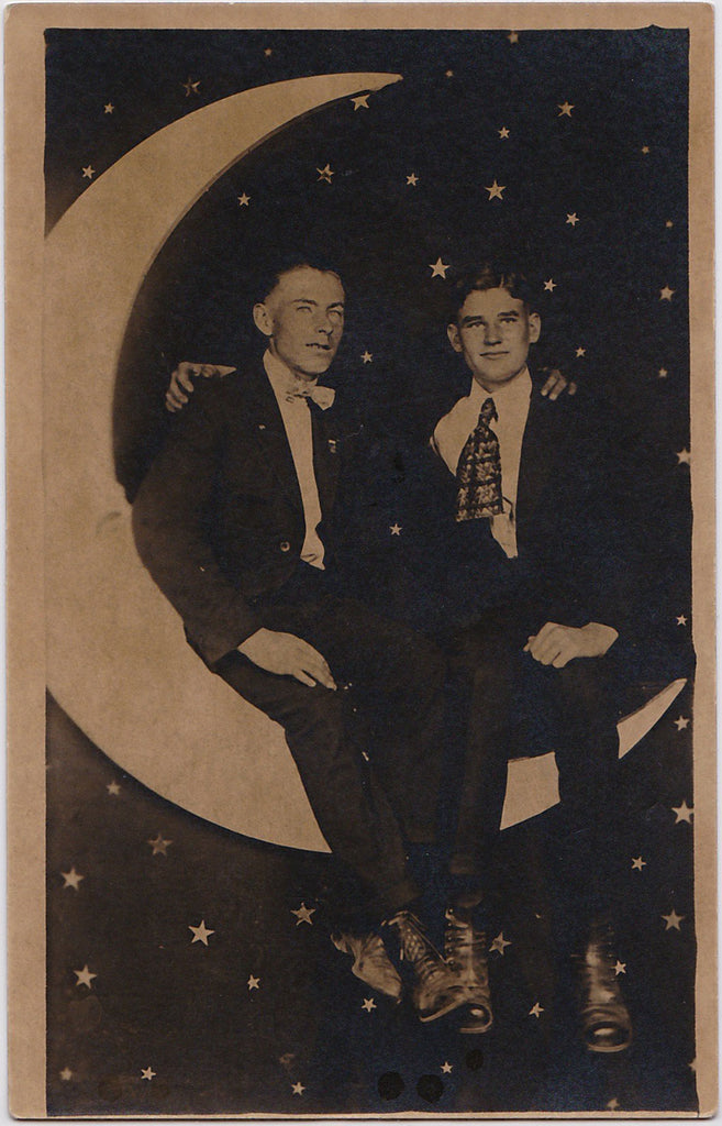 Two Affectionate Men on Paper Moon: Real Photo Postcard