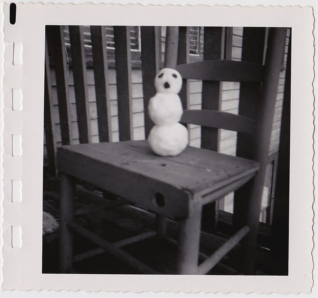 Tiny Snowman on Chair vintage snapshot