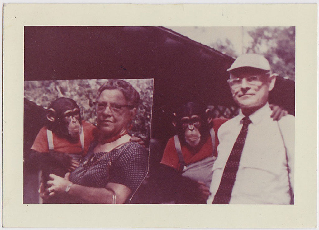 Family Portrait with Chimp vintage color snapshot
