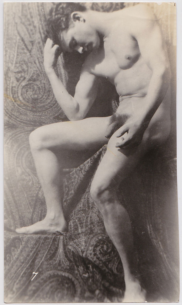 Anonymous Male Nude with Paisley Backdrop