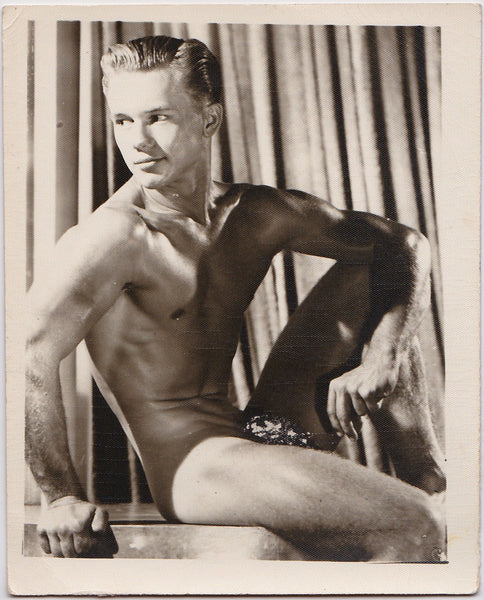 Anonymous Male Nude with Scratched Posing Strap vintage photo