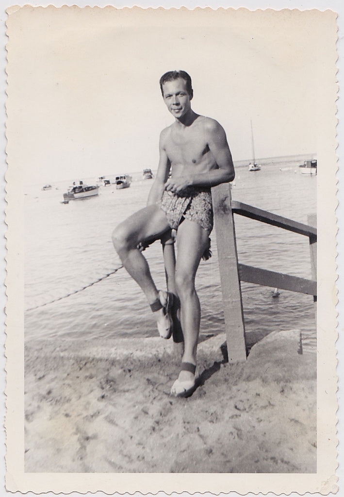 Vintage Photo: Man in Chic Beach Attire