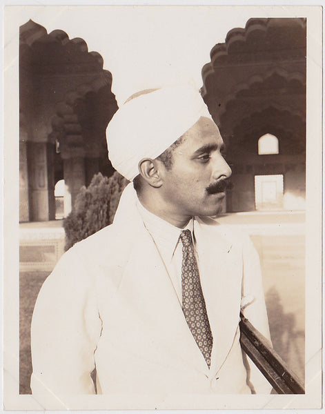 "Nicely composed portrait of a handsome man in profile, identified as ""Ghulam Mohamed vintage photo"