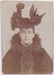 Man in fancy hat Vintage photo gloss finish, undated c. 1890.