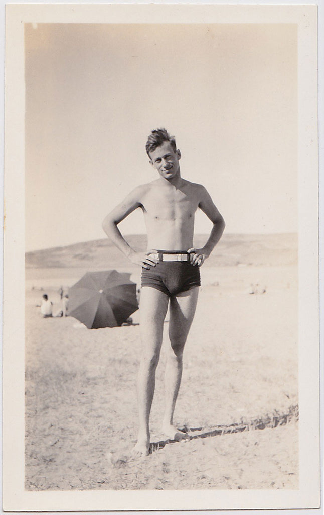 Man in Tight Swimsuit vintage photo