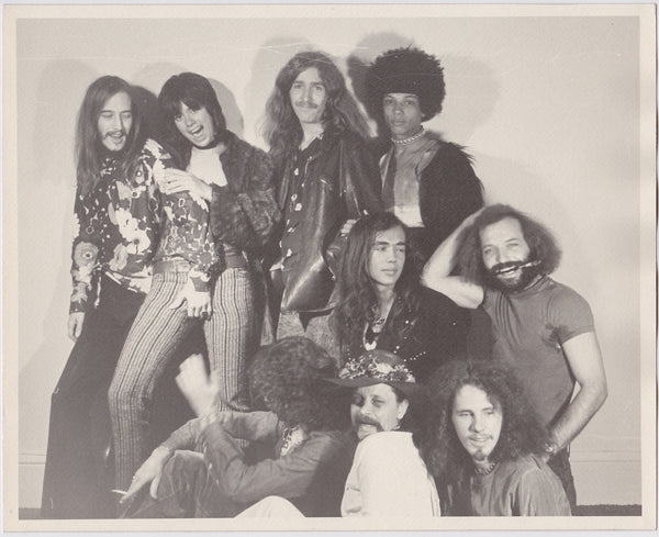 Nine Hippie Guys: Vintage photo on textured matt paper, undated c. 1970.