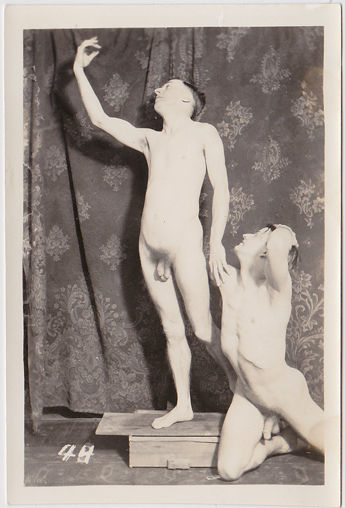 Vintage physique photo two male nudes