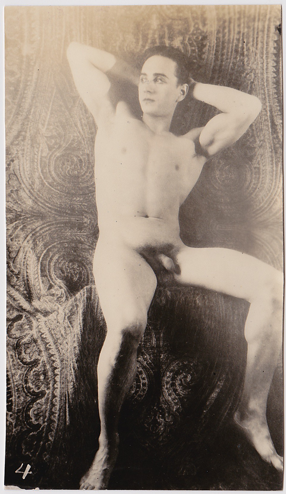 Vintage Physique Photo Male Nude With Paisley Backdrop -6393