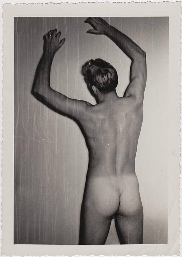 Male Nude Scratching Wall vintage photo