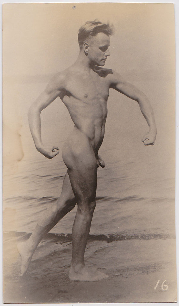 Vintage Physique Photo: Male Nude at the Shore