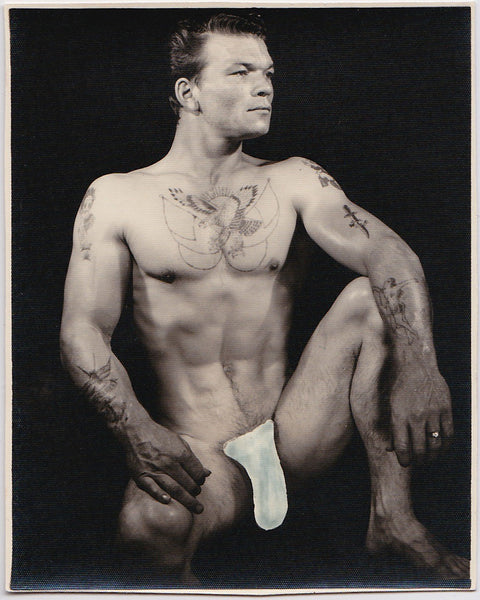 Anonymous Male Nude with Tattoos vintage photo