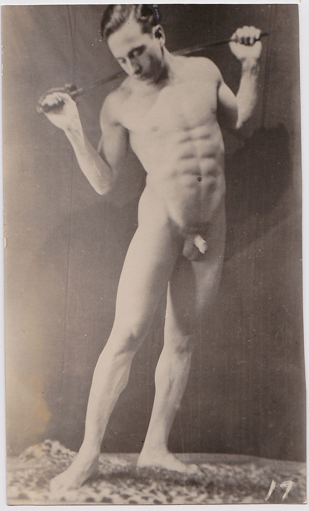 Vintage Physique Photo: Male Nude with Foil