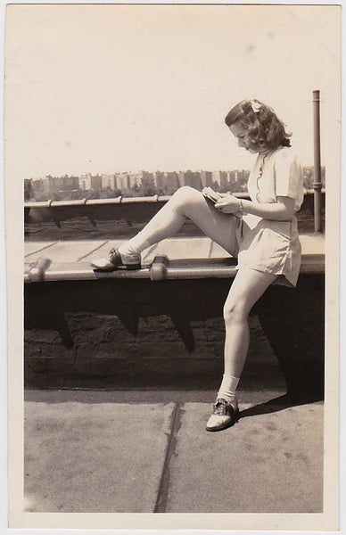 Woman Reading on Rooftop Vintage Photo