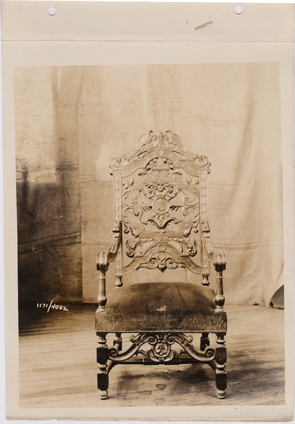 vintage sepia photo Altman Collection: Carved Armchair with Peacocks