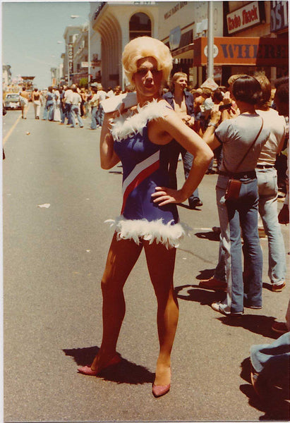 Patriotic Drag Queen on Polk St: Vintage Gay Photo
